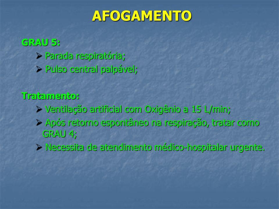 AFOGAMENTO GRAU 4: Muita quantidade de líquido aspirado; Muita quantidade de líquido aspirado; Ausculta pulmonar com muitos estertores; Ausculta pulmo
