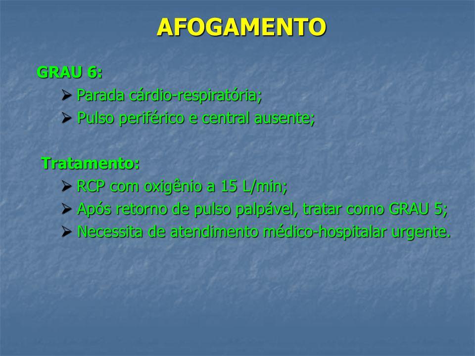 AFOGAMENTO GRAU 5: Parada respiratória; Parada respiratória; Pulso central palpável; Pulso central palpável;Tratamento: Ventilação artificial com Oxig