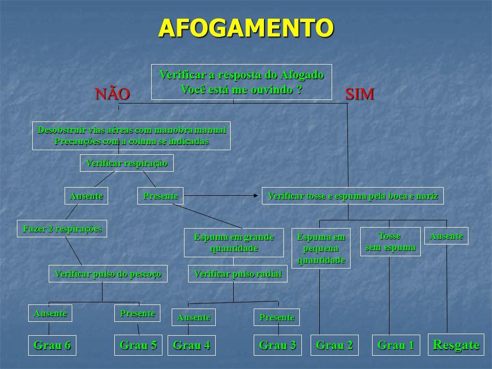 AFOGAMENTO GRAU 6: Parada cárdio-respiratória; Parada cárdio-respiratória; Pulso periférico e central ausente; Pulso periférico e central ausente; Tra