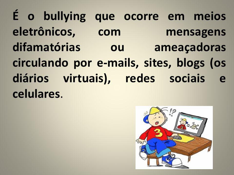 É o bullying que ocorre em meios eletrônicos, com mensagens difamatórias ou ameaçadoras circulando por e-mails, sites, blogs (os diários virtuais), re