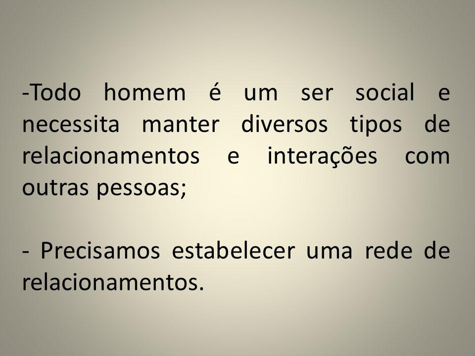 -Todo homem é um ser social e necessita manter diversos tipos de relacionamentos e interações com outras pessoas; - Precisamos estabelecer uma rede de