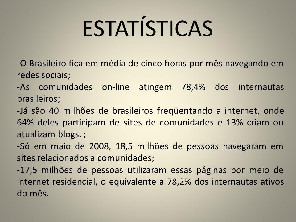 ESTATÍSTICAS -O Brasileiro fica em média de cinco horas por mês navegando em redes sociais; -As comunidades on-line atingem 78,4% dos internautas bras