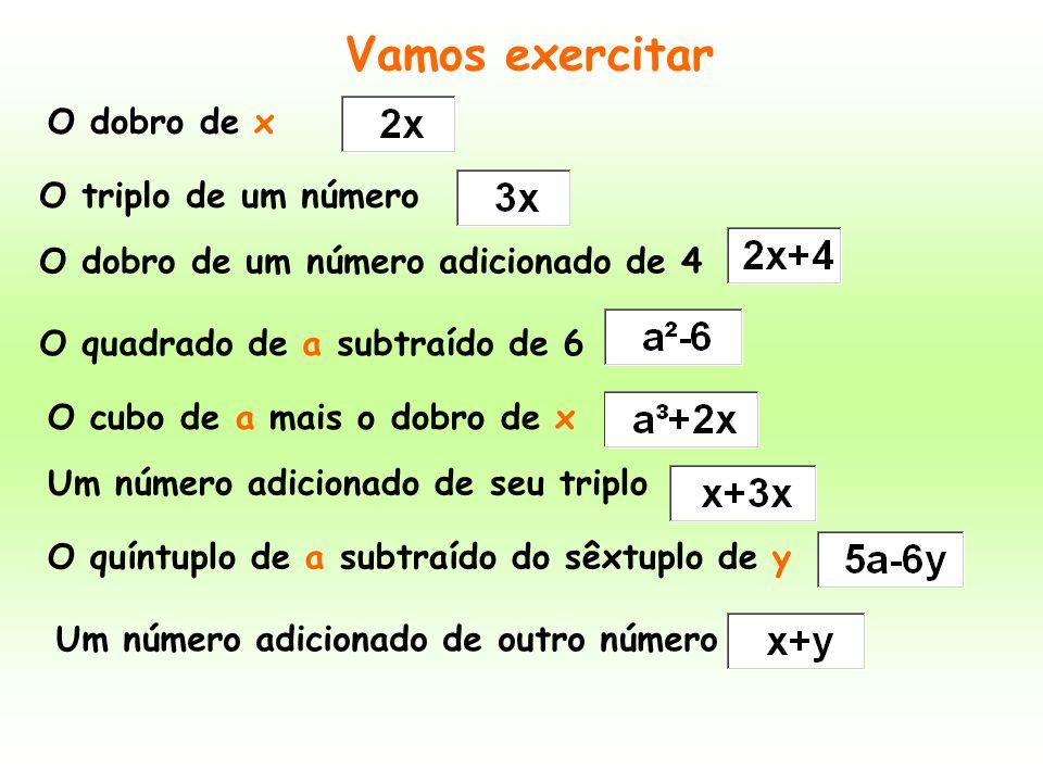 O dobro de x O dobro de um número adicionado de 4 O triplo de um número O quadrado de a subtraído de 6 O cubo de a mais o dobro de x Vamos exercitar U