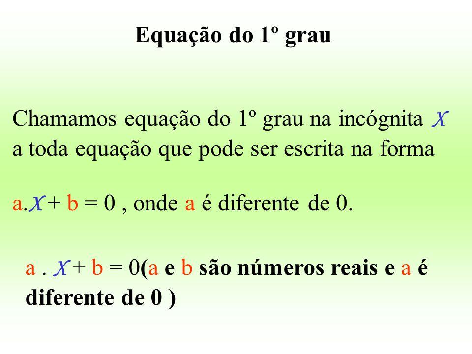 Equação do 1º grau Chamamos equação do 1º grau na incógnita X a toda equação que pode ser escrita na forma a. X + b = 0, onde a é diferente de 0. a. X