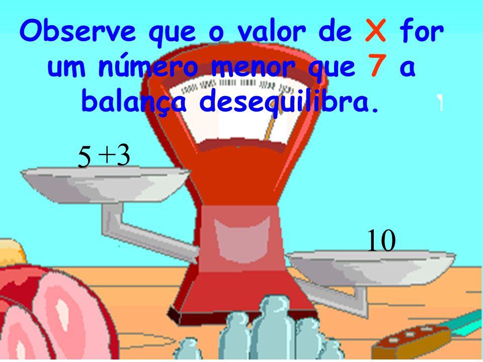 10 +3 5 Observe que o valor de X for um número menor que 7 a balança desequilibra.
