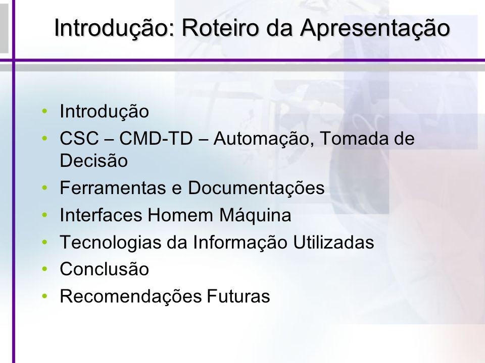 Introdução: Roteiro da Apresentação Introdução CSC – CMD-TD – Automação, Tomada de Decisão Ferramentas e Documentações Interfaces Homem Máquina Tecnol