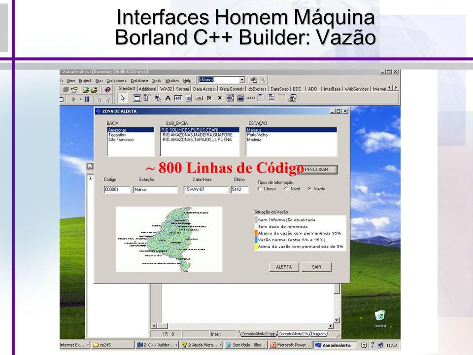 Interfaces Homem Máquina Borland C++ Builder: Vazão ~ 800 Linhas de Código