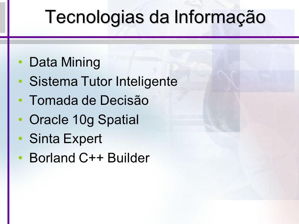 Tecnologias da Informação Data Mining Sistema Tutor Inteligente Tomada de Decisão Oracle 10g Spatial Sinta Expert Borland C++ Builder