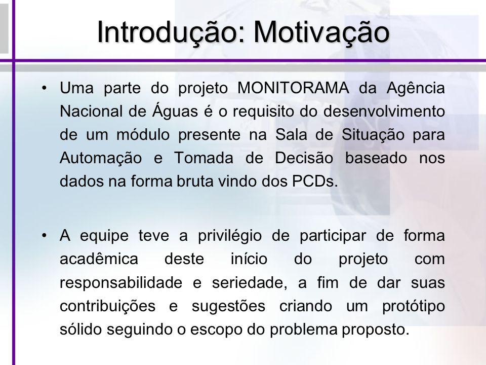 Introdução: Motivação Uma parte do projeto MONITORAMA da Agência Nacional de Águas é o requisito do desenvolvimento de um módulo presente na Sala de S