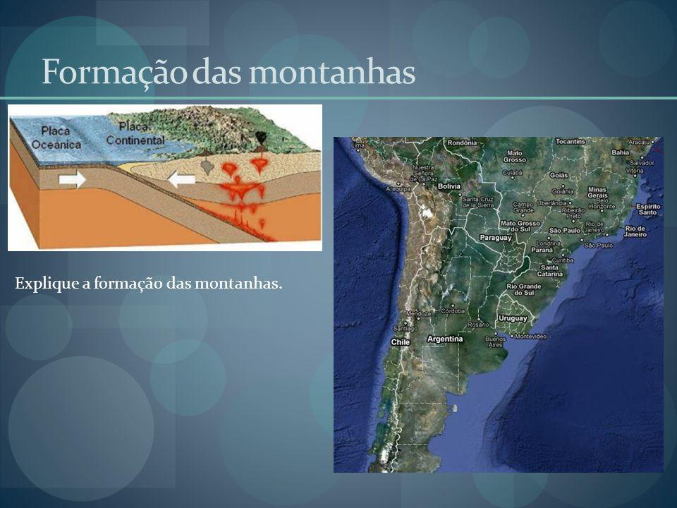 Formação das montanhas Explique a formação das montanhas.
