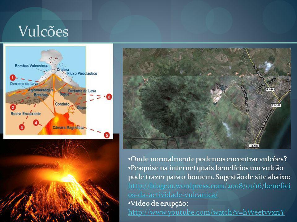 Vulcões Onde normalmente podemos encontrar vulcões? Pesquise na internet quais benefícios um vulcão pode trazer para o homem. Sugestão de site abaixo: