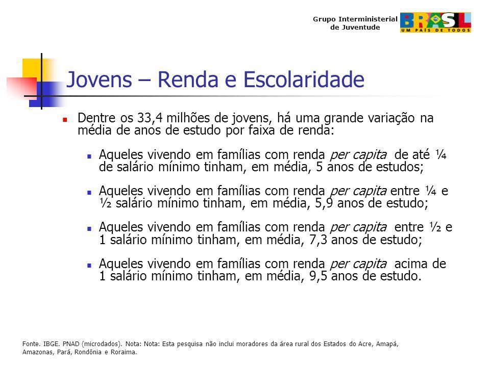 Grupo Interministerial de Juventude Jovens – Renda e Escolaridade Dentre os 33,4 milhões de jovens, há uma grande variação na média de anos de estudo