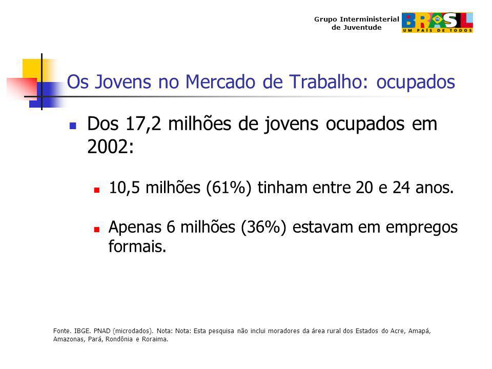 Grupo Interministerial de Juventude Os Jovens no Mercado de Trabalho: ocupados Dos 17,2 milhões de jovens ocupados em 2002: 10,5 milhões (61%) tinham