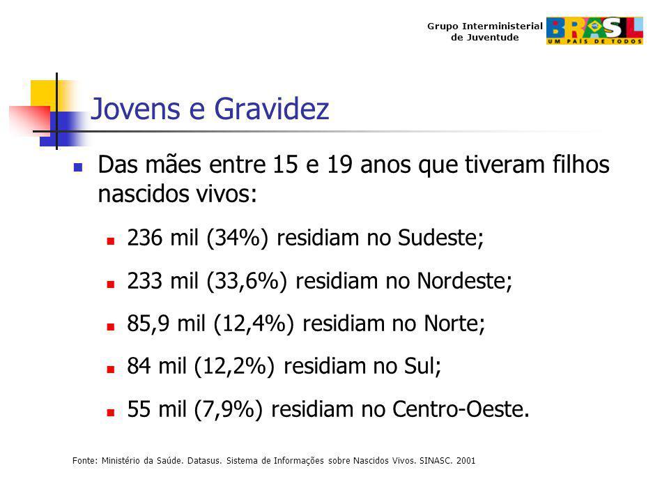 Grupo Interministerial de Juventude Jovens e Gravidez Das mães entre 15 e 19 anos que tiveram filhos nascidos vivos: 236 mil (34%) residiam no Sudeste