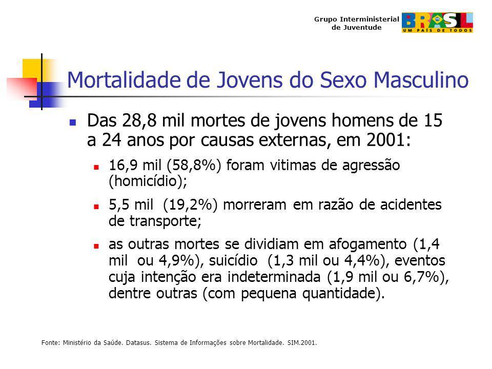 Grupo Interministerial de Juventude Mortalidade de Jovens do Sexo Masculino Das 28,8 mil mortes de jovens homens de 15 a 24 anos por causas externas,