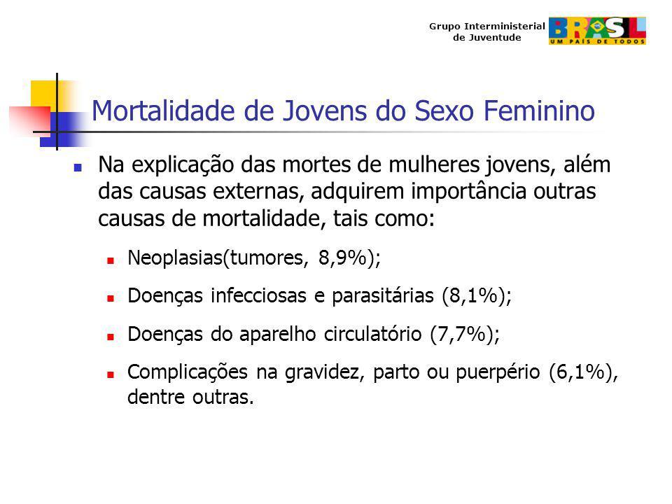 Grupo Interministerial de Juventude Mortalidade de Jovens do Sexo Feminino Na explicação das mortes de mulheres jovens, além das causas externas, adqu