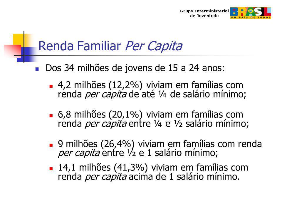 Grupo Interministerial de Juventude Renda Familiar Per Capita Dos 34 milhões de jovens de 15 a 24 anos: 4,2 milhões (12,2%) viviam em famílias com ren