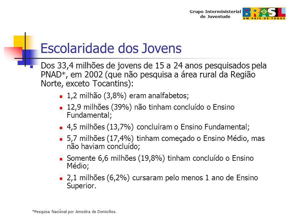 Grupo Interministerial de Juventude Escolaridade dos Jovens Dos 33,4 milhões de jovens de 15 a 24 anos pesquisados pela PNAD *, em 2002 (que não pesqu