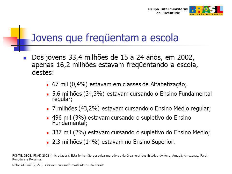 Grupo Interministerial de Juventude Jovens que freqüentam a escola Dos jovens 33,4 milhões de 15 a 24 anos, em 2002, apenas 16,2 milhões estavam freqü