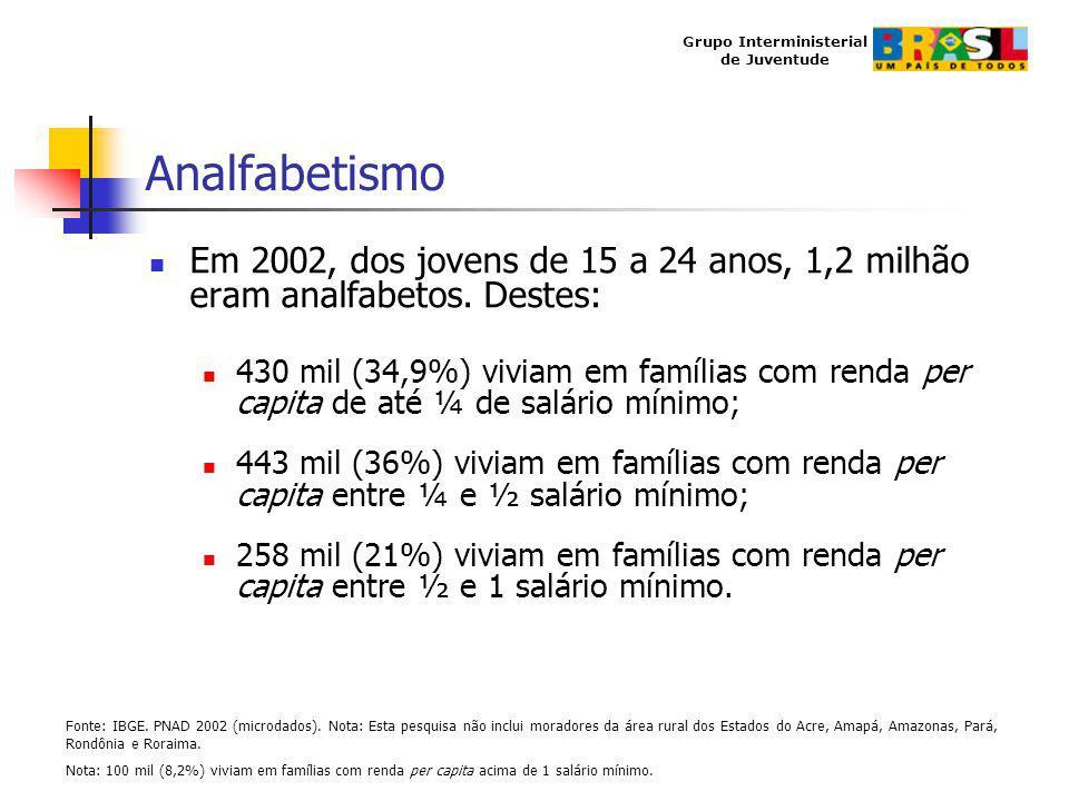 Grupo Interministerial de Juventude Analfabetismo Em 2002, dos jovens de 15 a 24 anos, 1,2 milhão eram analfabetos. Destes: 430 mil (34,9%) viviam em