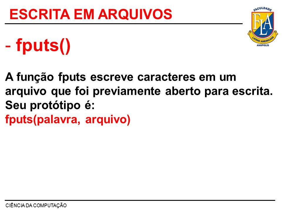 #include void main() { char str[80]; FILE *fp; fp = fopen( C:\\TESTE.txt , a+ ); if(fp ==NULL) { printf( arquivo nao pode ser aberto\n ); exit(1); } do { printf( entre uma string (ENTER para sair):\n ); gets(str); strcat(str, \n ); /* acrescenta uma nova linha */ fputs(str, fp); } while(*str!= \n ); system( PAUSE ); } EXEMPLO 2