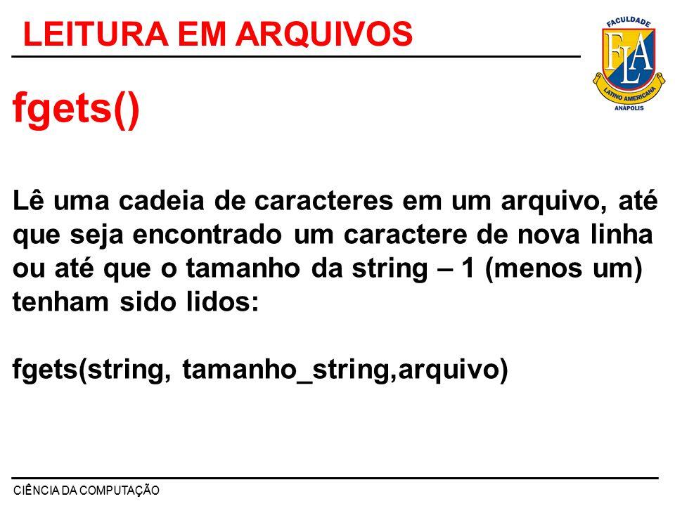 EXEMPLO 3 #include void main(void) { char str[80]; FILE *fp; if((fp = fopen( c:\\TEST.txt , a+ ))==NULL) { printf( arquivo nao pode ser aberto\n ); exit(1); } do { printf( entre uma string (CR para sair):\n ); gets(str); strcat(str, \n ); /* acrescenta uma nova linha */ fputs(str, fp); } while(*str!= \n ); rewind(fp); /* reinicializa o indicador de posiçao de arquivo*/ while(!feof(fp)) { fgets(str, 79, fp); printf(%s,str); } fclose(fp); system( PAUSE );}