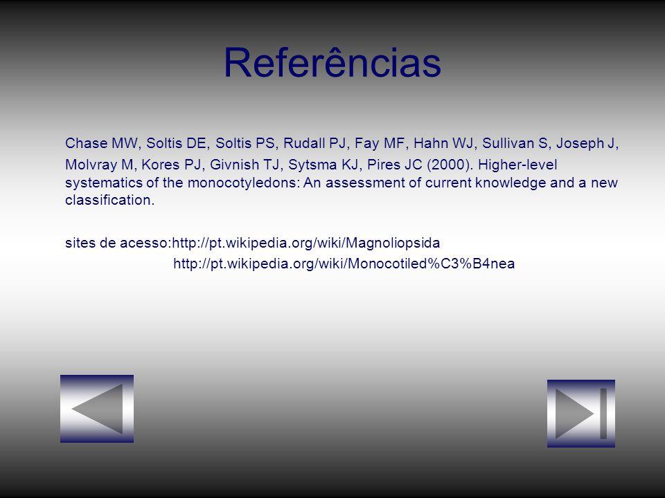 Referências Chase MW, Soltis DE, Soltis PS, Rudall PJ, Fay MF, Hahn WJ, Sullivan S, Joseph J, Molvray M, Kores PJ, Givnish TJ, Sytsma KJ, Pires JC (20