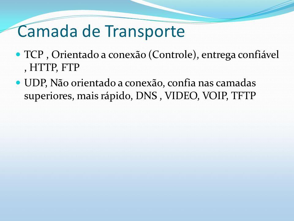 Camada de Transporte TCP, Orientado a conexão (Controle), entrega confiável, HTTP, FTP UDP, Não orientado a conexão, confia nas camadas superiores, ma