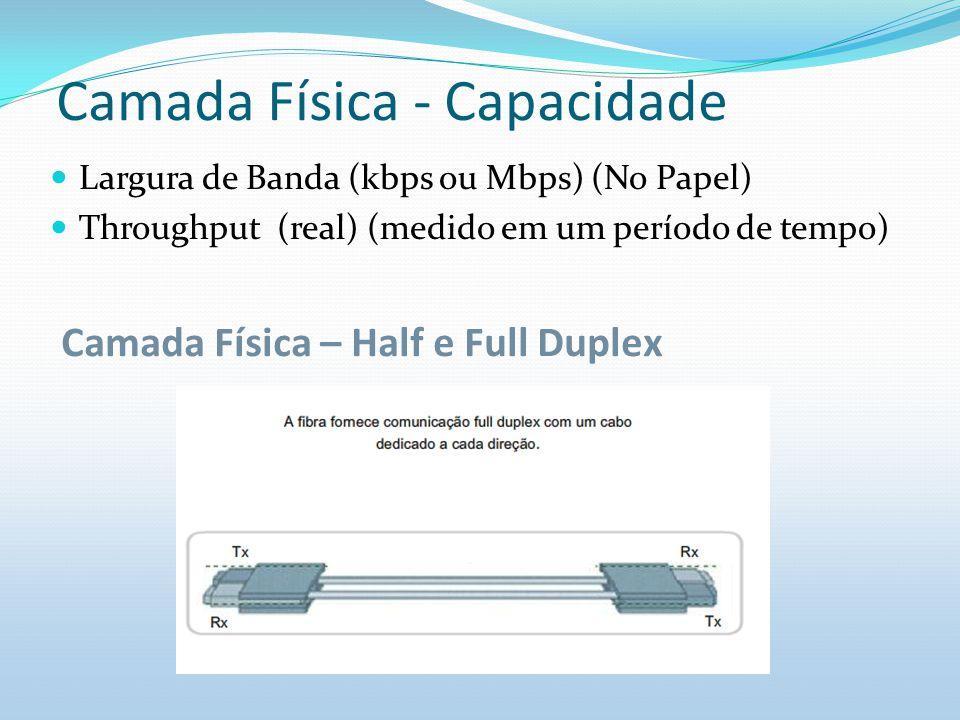 Camada Física - Capacidade Largura de Banda (kbps ou Mbps) (No Papel) Throughput (real) (medido em um período de tempo) Camada Física – Half e Full Du