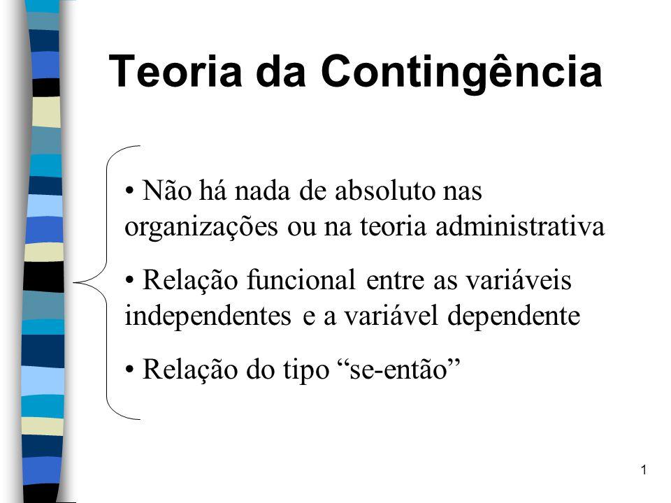1 Teoria da Contingência Não há nada de absoluto nas organizações ou na teoria administrativa Relação funcional entre as variáveis independentes e a v