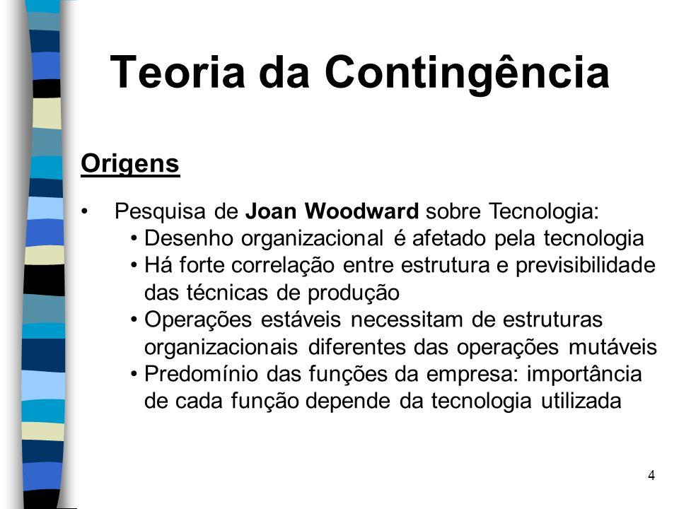 4 Origens Pesquisa de Joan Woodward sobre Tecnologia: Desenho organizacional é afetado pela tecnologia Há forte correlação entre estrutura e previsibi