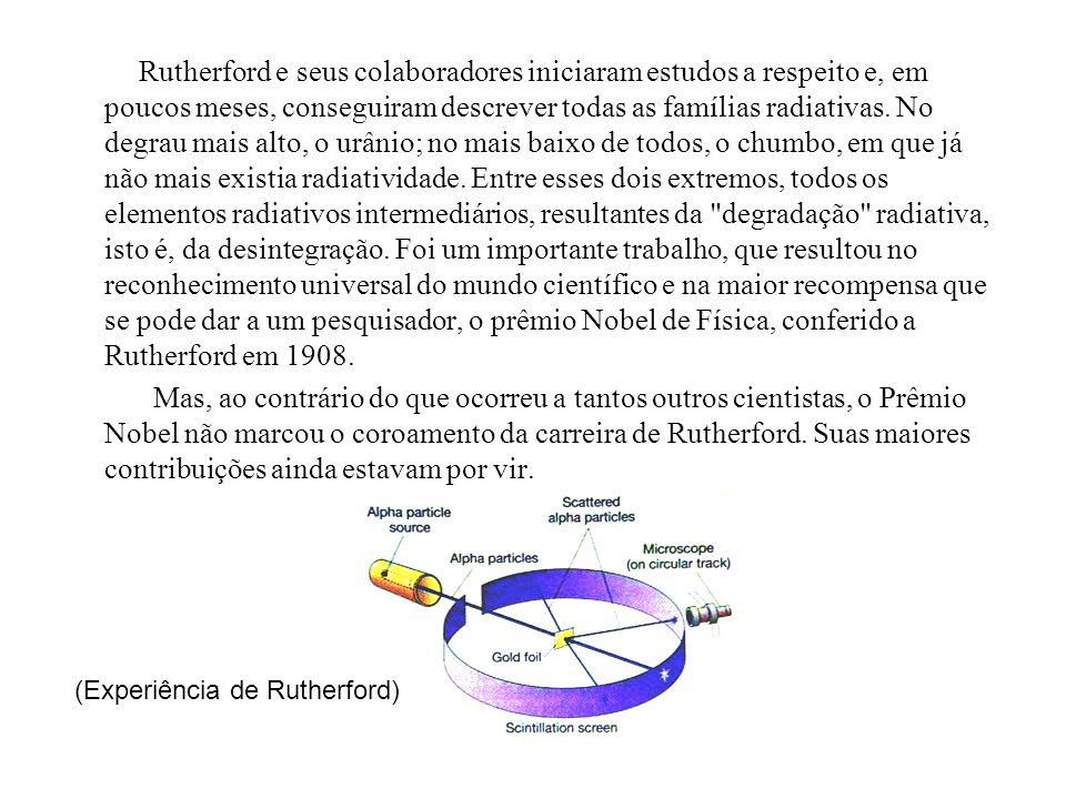 Em 1908, Rutherford realizou uma famosa experiência, na qual bombardeou com partículas alfa uma folha de ouro delgadíssima.