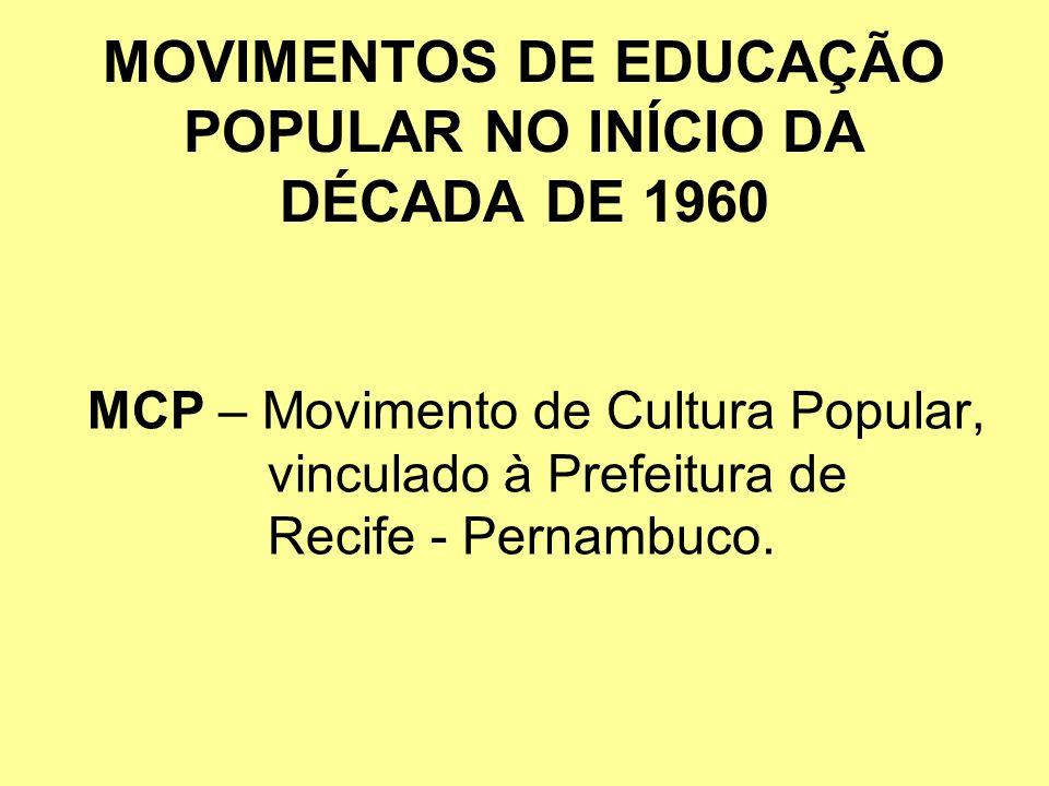 MOVIMENTOS DE EDUCAÇÃO POPULAR NO INÍCIO DA DÉCADA DE 1960 MCP – Movimento de Cultura Popular, vinculado à Prefeitura de Recife - Pernambuco.