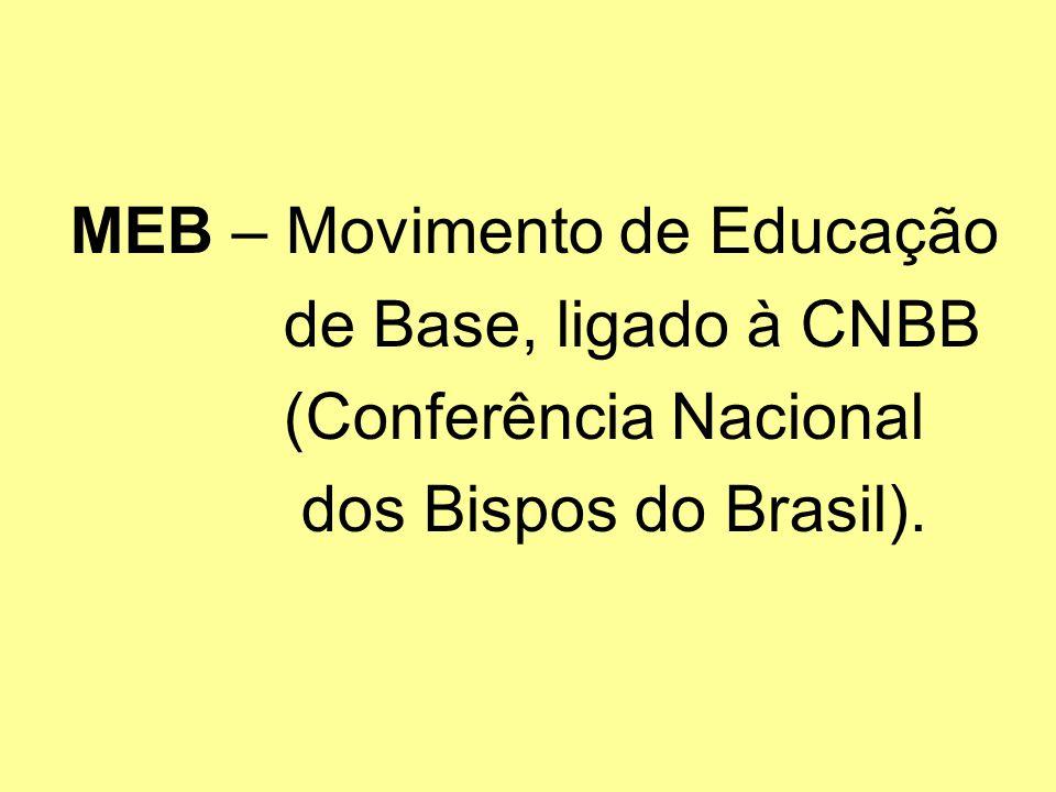 MEB – Movimento de Educação de Base, ligado à CNBB (Conferência Nacional dos Bispos do Brasil).