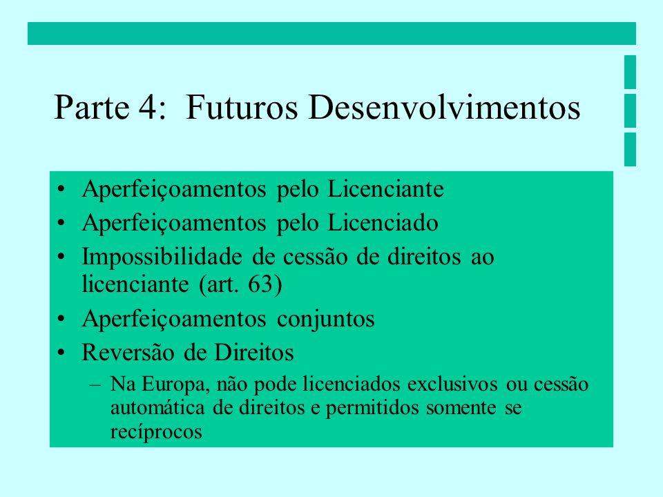 Aperfeiçoamentos pelo Licenciante Aperfeiçoamentos pelo Licenciado Impossibilidade de cessão de direitos ao licenciante (art.