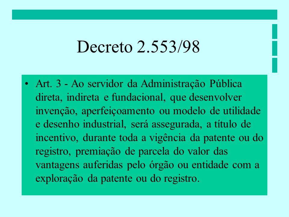 Art. 3 - Ao servidor da Administração Pública direta, indireta e fundacional, que desenvolver invenção, aperfeiçoamento ou modelo de utilidade e desen