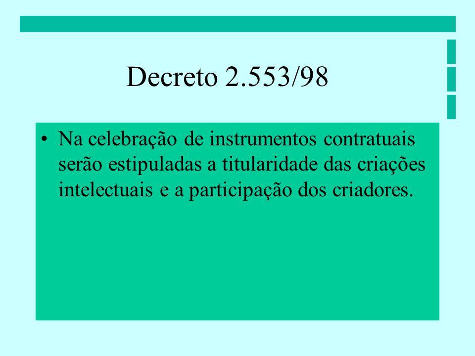 Na celebração de instrumentos contratuais serão estipuladas a titularidade das criações intelectuais e a participação dos criadores.