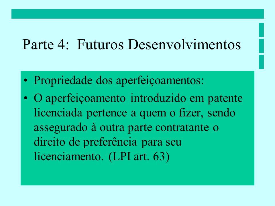 Propriedade dos aperfeiçoamentos: O aperfeiçoamento introduzido em patente licenciada pertence a quem o fizer, sendo assegurado à outra parte contratante o direito de preferência para seu licenciamento.
