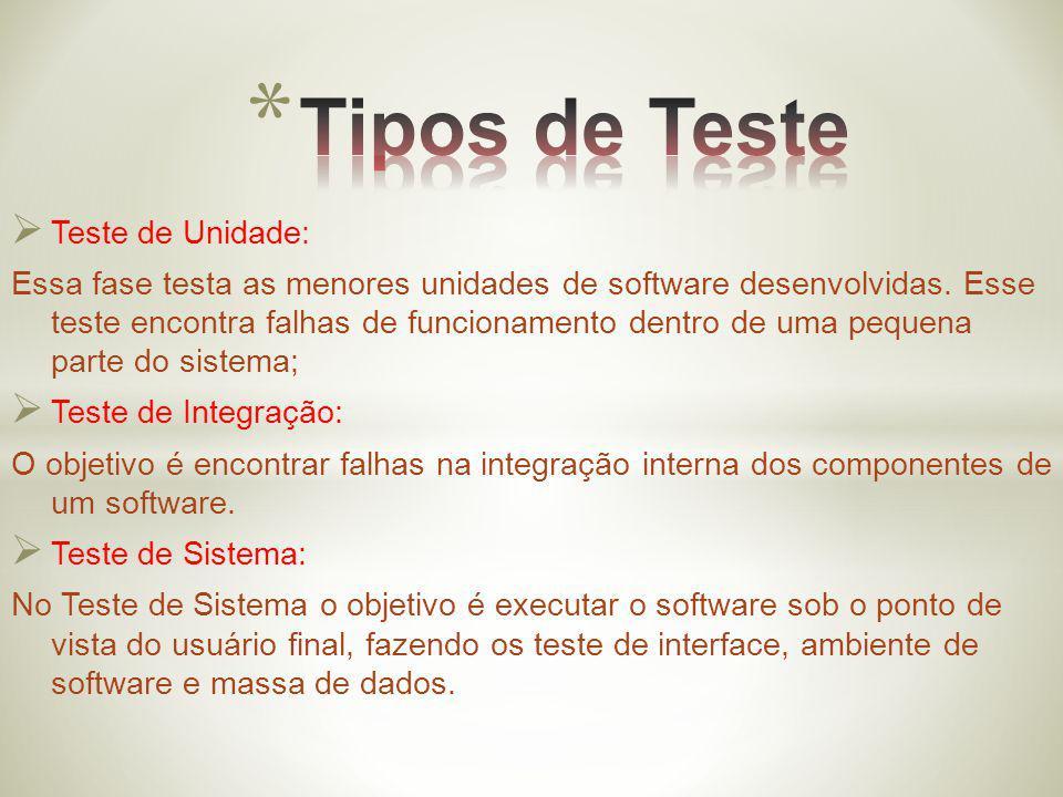 Teste de Unidade: Essa fase testa as menores unidades de software desenvolvidas. Esse teste encontra falhas de funcionamento dentro de uma pequena par