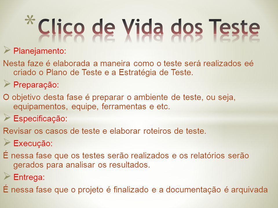 Planejamento: Nesta faze é elaborada a maneira como o teste será realizados eé criado o Plano de Teste e a Estratégia de Teste. Preparação: O objetivo