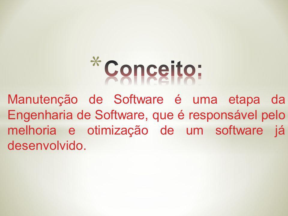 Manutenção de Software é uma etapa da Engenharia de Software, que é responsável pelo melhoria e otimização de um software já desenvolvido.