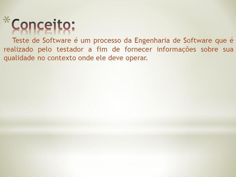 Teste de Software é um processo da Engenharia de Software que é realizado pelo testador a fim de fornecer informações sobre sua qualidade no contexto