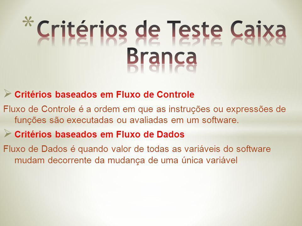 Critérios baseados em Fluxo de Controle Fluxo de Controle é a ordem em que as instruções ou expressões de funções são executadas ou avaliadas em um so