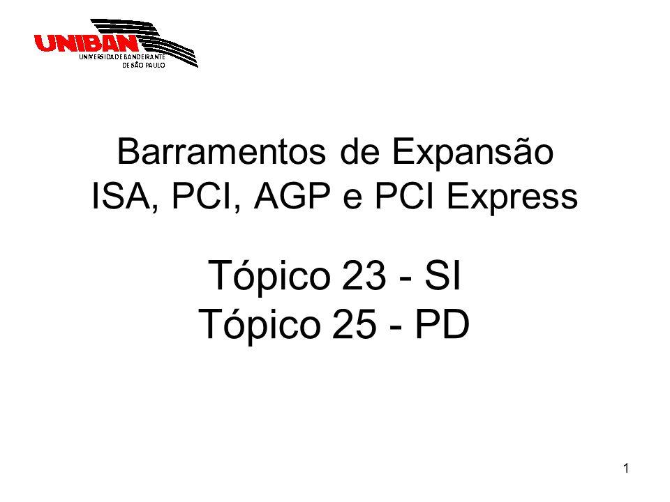 1 Barramentos de Expansão ISA, PCI, AGP e PCI Express Tópico 23 - SI Tópico 25 - PD