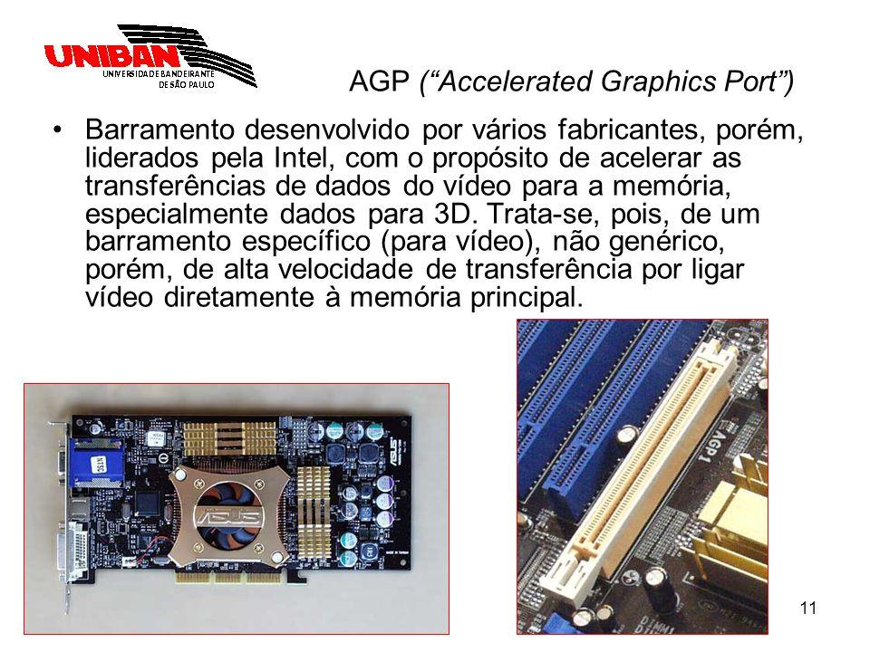 11 AGP (Accelerated Graphics Port) Barramento desenvolvido por vários fabricantes, porém, liderados pela Intel, com o propósito de acelerar as transfe