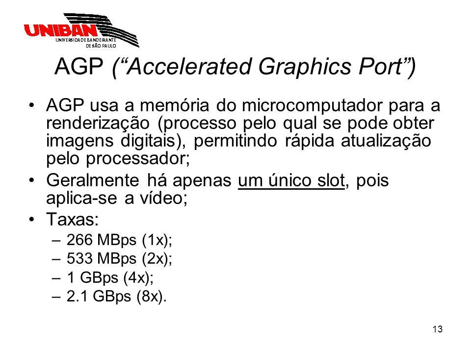 13 AGP (Accelerated Graphics Port) AGP usa a memória do microcomputador para a renderização (processo pelo qual se pode obter imagens digitais), permi