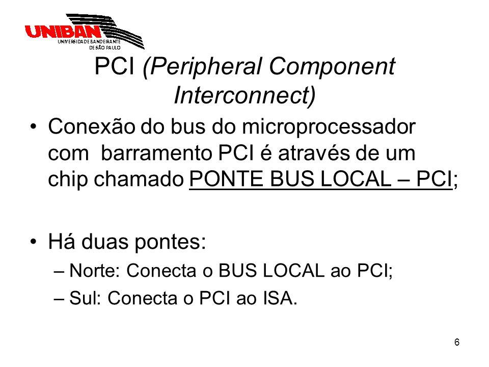 7 PCI (Peripheral Component Interconnect) Microprocessador Cache BUS local Ponte Norte PCI HD Vídeo Ponte Sul ISA Dispositivo A Dispositivo B Periféricos Lentos ROM Barramento X Memória Principal