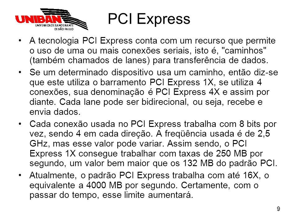 9 PCI Express A tecnologia PCI Express conta com um recurso que permite o uso de uma ou mais conexões seriais, isto é,