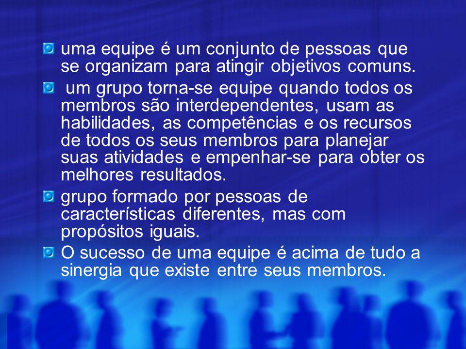 uma equipe é um conjunto de pessoas que se organizam para atingir objetivos comuns. um grupo torna-se equipe quando todos os membros são interdependen