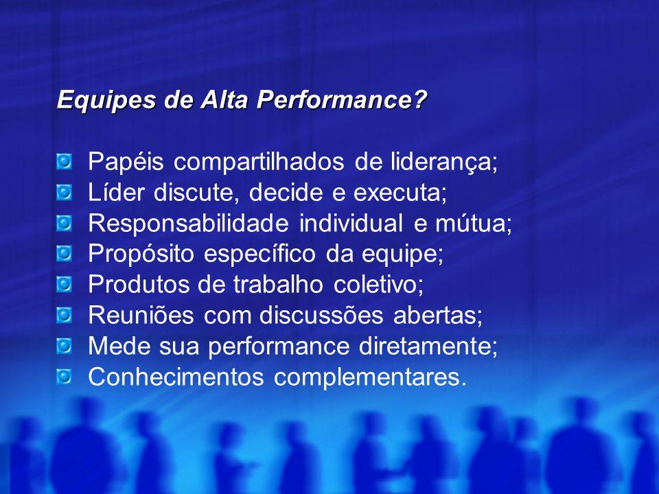 Equipes de Alta Performance? Papéis compartilhados de liderança; Líder discute, decide e executa; Responsabilidade individual e mútua; Propósito espec